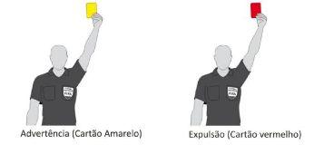 Cartão amarelo e cartão vermelho no Futsal